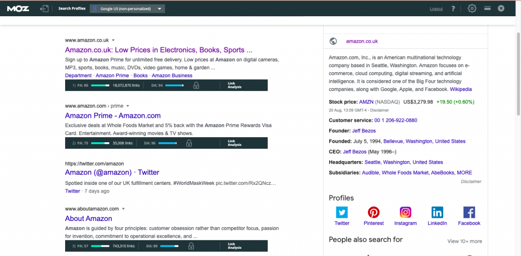 Moz Bar SEO chrome extension