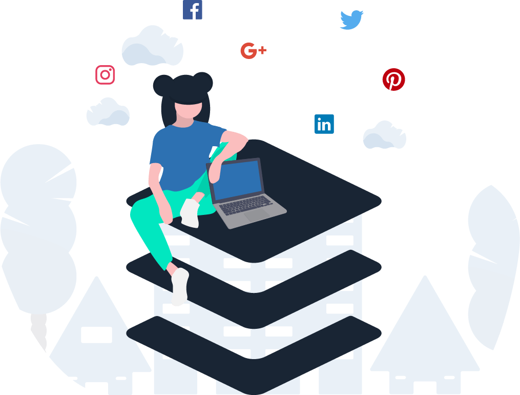 Graphic of person with laptop