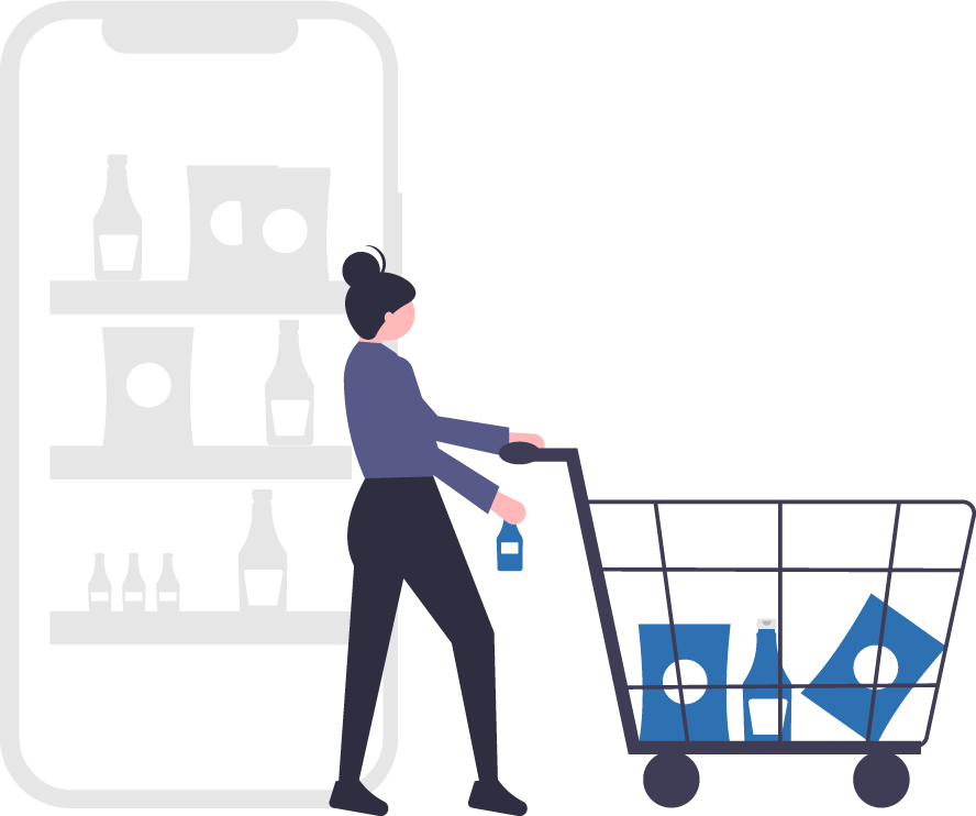 Graphic image of person shopping